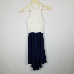 B. Darlin brand dress, white lace chest area, blue